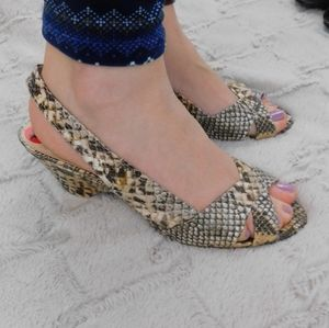 Franco Sarto snake print heels, 10, sling back